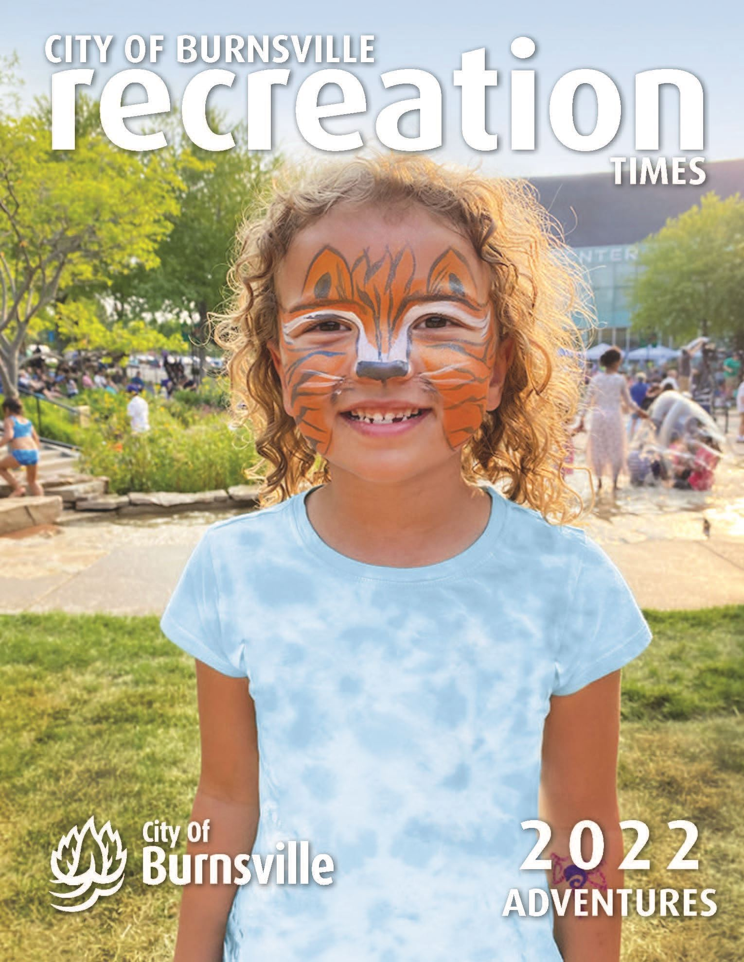 Fall 2019 Recreation Times cover featuring children laying in leaves