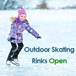 A young girl skates on an outdoor ice rink. Text: Outdoor skating rinks open