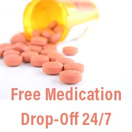 Pill bottle spilling pink pills. Text: Free medication drop-off 24/7