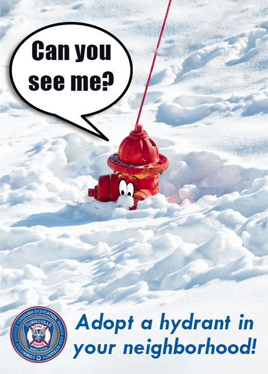Fire hydrant with cartoon eyes mostly covered in snow. A cartoon speech bubble says Can you see me?