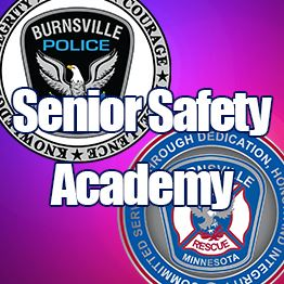 Police and Fire Department logos are shown against a blue and red background. Text: Senior Safety Ac