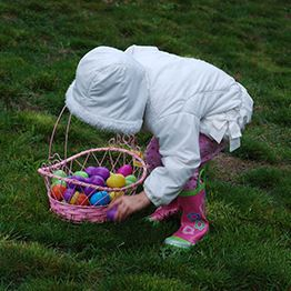 Small child leans over to pick up Easter eggs. A basket filled with eggs is next to her. Text: Break