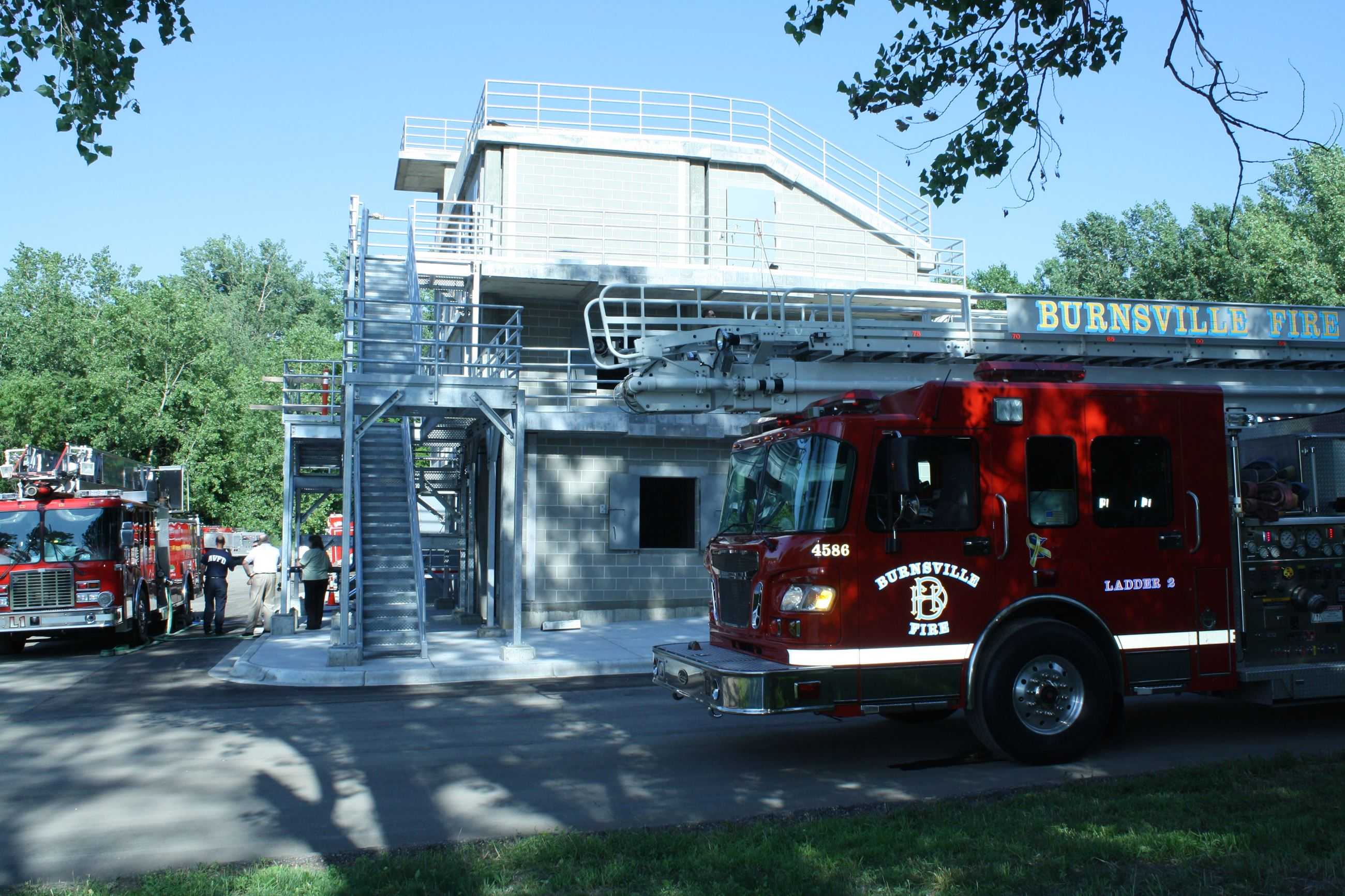 A Burnsville fire truck parked in front of the ABLE training facility