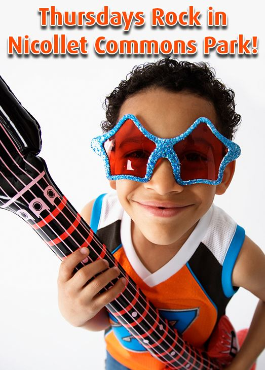 Young boy wearing star-shaped sunglasses holds an inflatable guitar. Text: Thursdays Rock in Nicolle