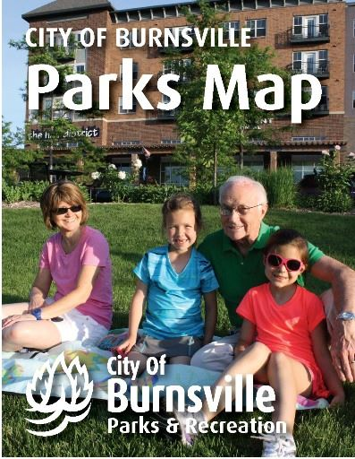 Cover of pocket parks map booklet featuring grandparents and children smiling on a picnic blanket