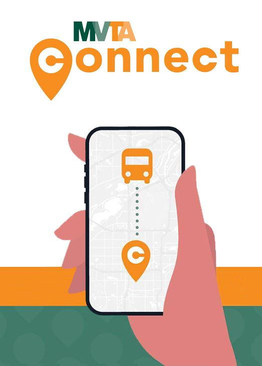 Illustration of hand holding phone showing a bus icon. Text: MVTA Connect