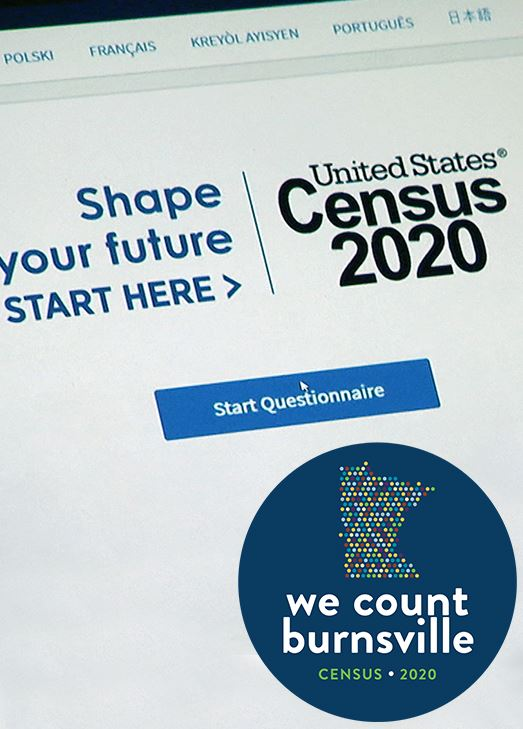 "Image of Census website with circle that says ""we count burnsville"""