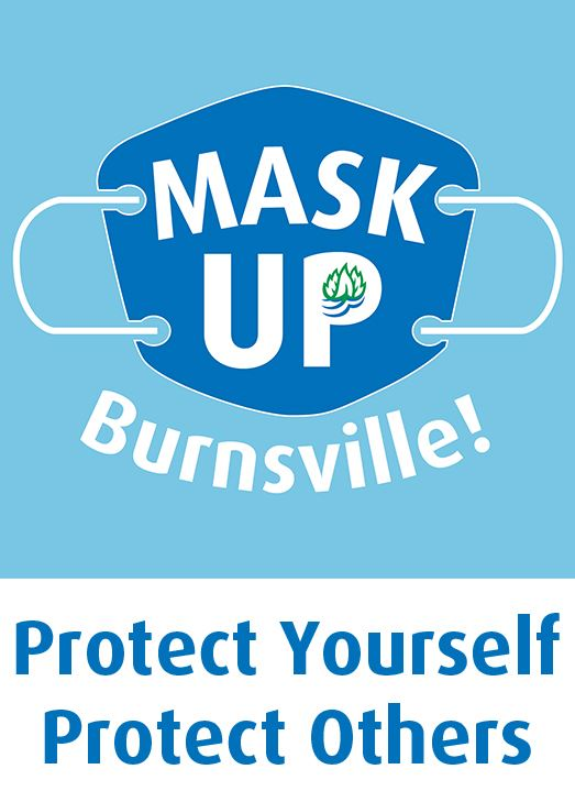 Face mask with City of Burnsville logo with text, Mask Up Burnsville