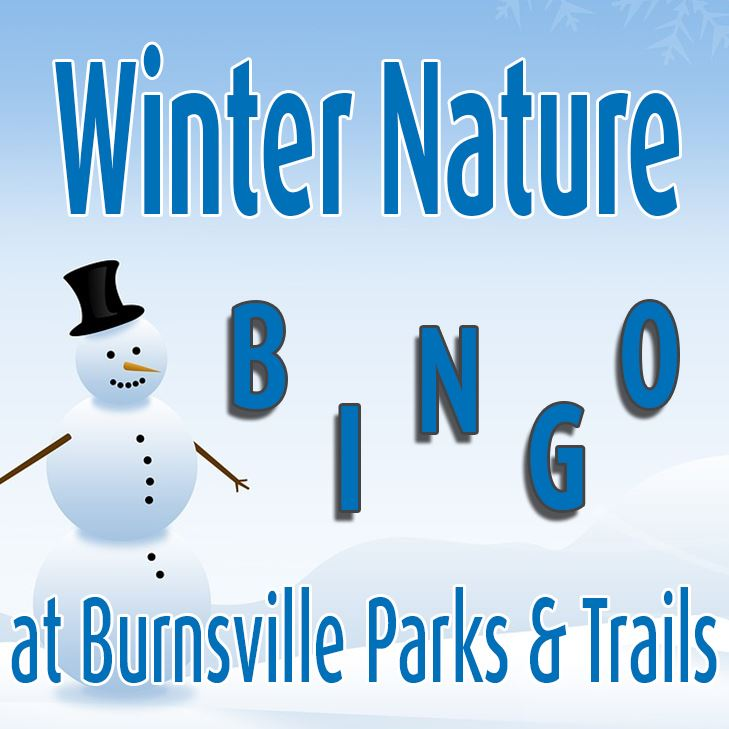 Picture of snowman with text Winter Nature Bingo