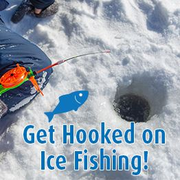 child sitting on frozen lake ice fishing with text Register Now for Youth Ice Fishing