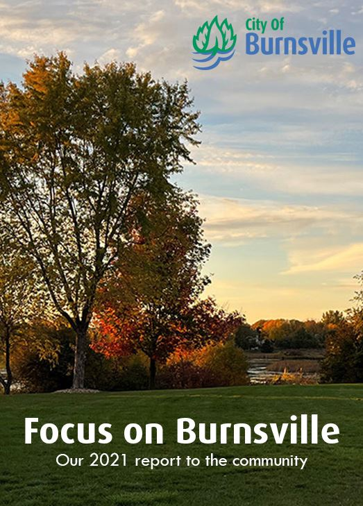 winter sunset at a Burnsville park with the title Focus on Burnsville, our annual community report