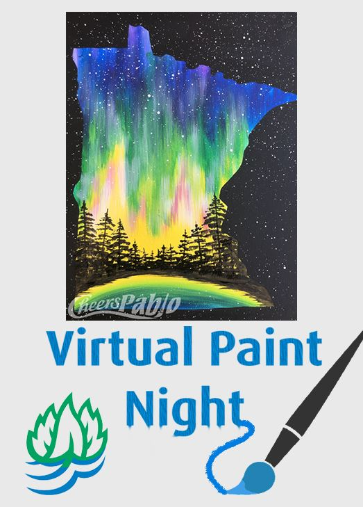 painting of MN northern lights, text reads Virtual Paint Night