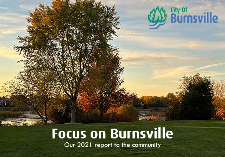 park sunset with heading Focus on Burnsville, 2020 report to the community