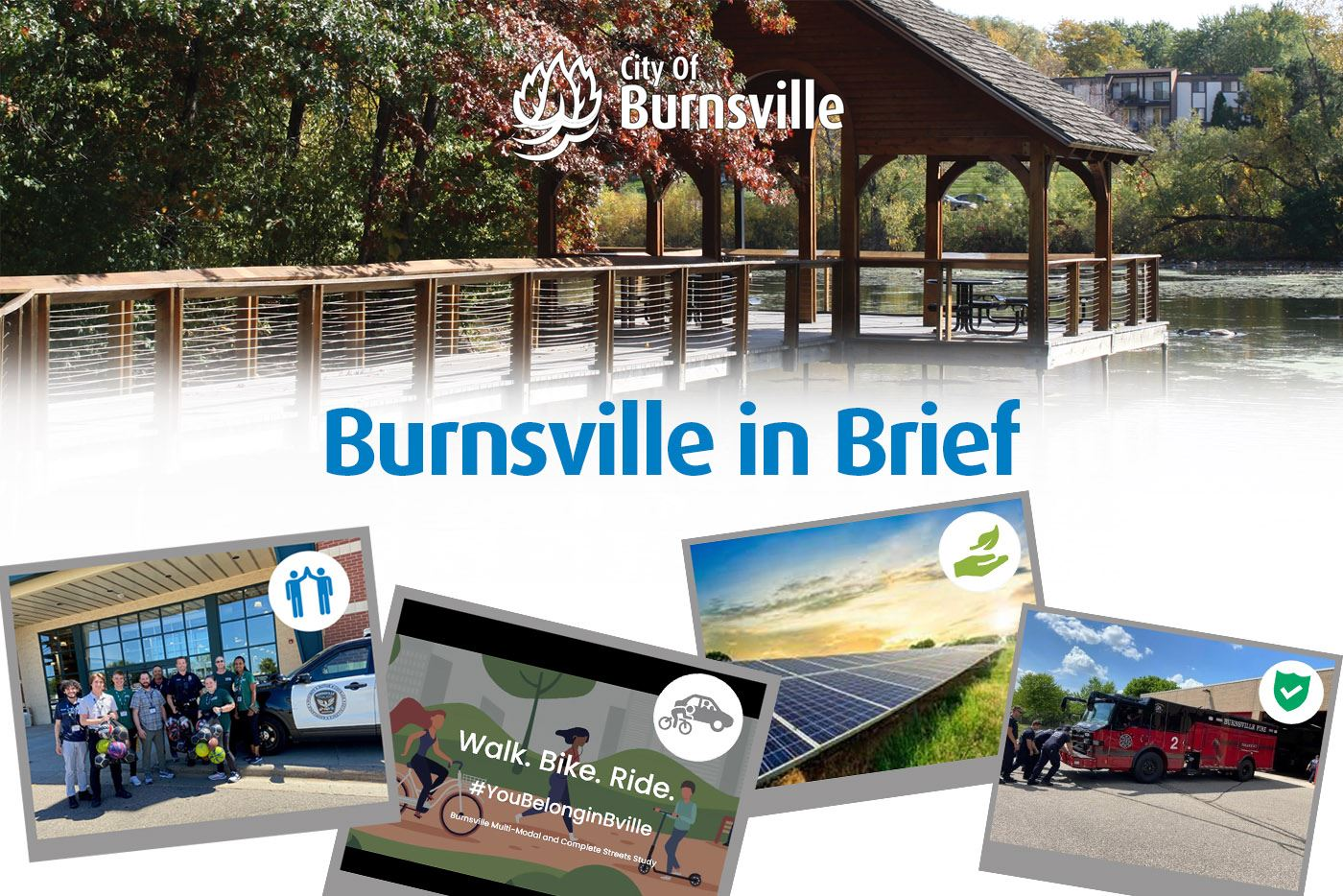 Burnsville in Brief headline with photographs of city vehicles, Mayor and buildings